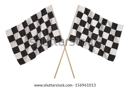 Two Checker Flags Crossed Isolated on a White Background. - stock photo