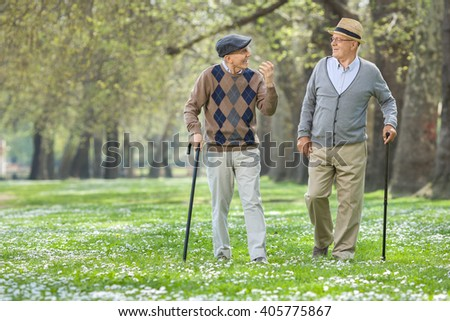 Two cheerful elderly men walking in a park and having a conversation  - stock photo