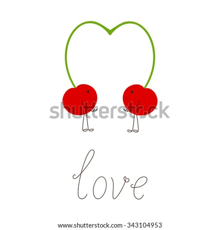 Two cherries with springs close in the shape of heart and lettering love. Design element, vegetarian menu decoration. Flat style illustration - stock photo
