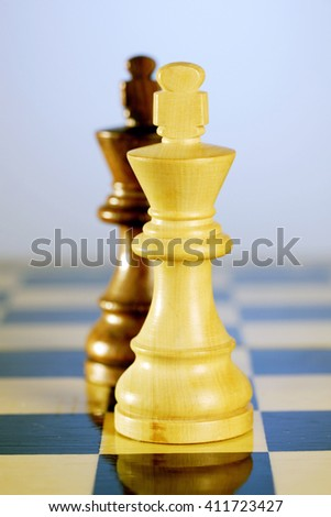 Two chess kings on chess board - stock photo
