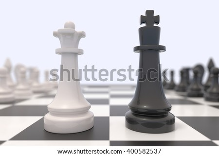 Two chess pieces on a chessboard. Black king and white queen facing each other. Confrontation between men and women, feminism, competition, discussion, agreement concept. 3D illustration. - stock photo