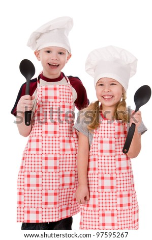two children chefs isolated on white background - stock photo