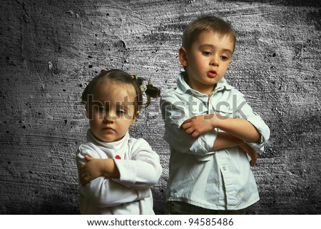 Two children in a quarrel - stock photo