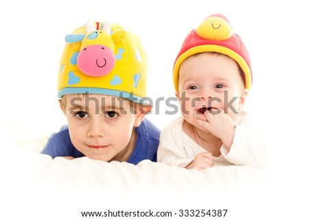 Two children looking - stock photo