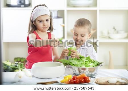 Two children preparing salad in the kitchen - stock photo