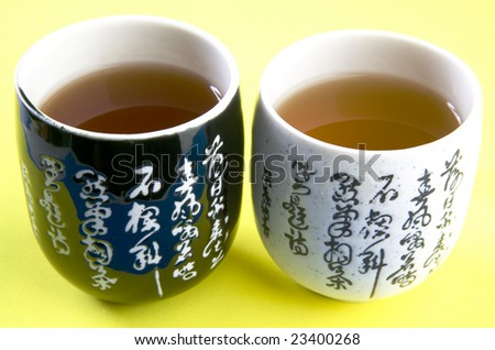 Two Chinese tea cups - stock photo