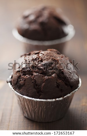 two chocolate chip muffins - stock photo