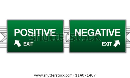Two Choices Of Green Highway Street Sign Between Positive And Negative Sign For Business Concept Isolate on White Background - stock photo
