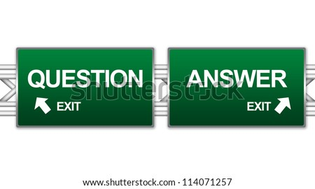 Two Choices Of Green Highway Street Sign Between Question And Answer Sign For Business Direction Concept Isolate on White Background - stock photo