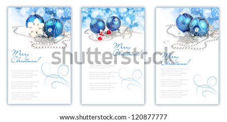 Two christmas balls with decorations - stock photo