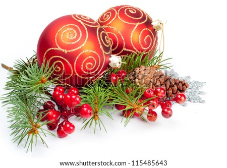 Two christmas balls with pine and decorations - stock photo