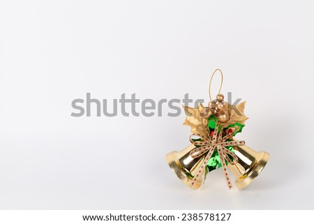 Two christmas bells Isolated on a white background. - stock photo