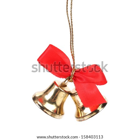 Two christmas bells with red ribbon. - stock photo