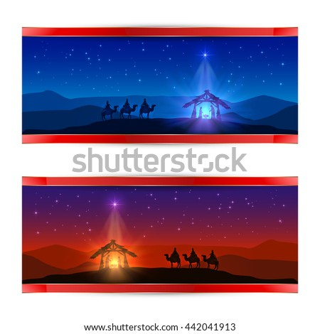 Two Christmas cards with Christmas star, birth of Jesus and three wise men, illustration. - stock photo