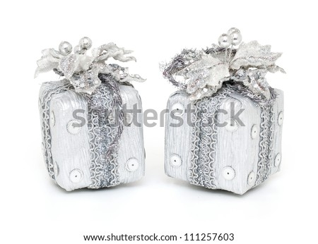 two Christmas gifts isolated on white background - stock photo