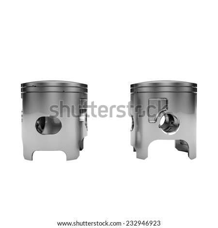 Two chrome disassembled polished pistons isolated on white - stock photo