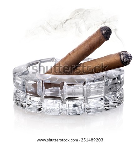 Two cigars in a glass astray isolated on white - stock photo