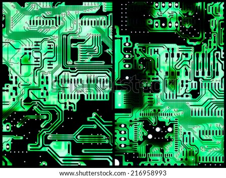 Two Circuit Boards with light in the background for use as background or as texture - stock photo