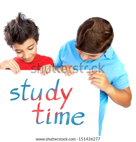 Two classmate with billboard isolated on white background, enjoying study time, text space, back to school, education concept - stock photo