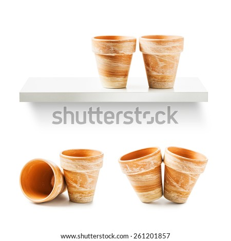 Two clay flower pots collection isolated on white background - stock photo