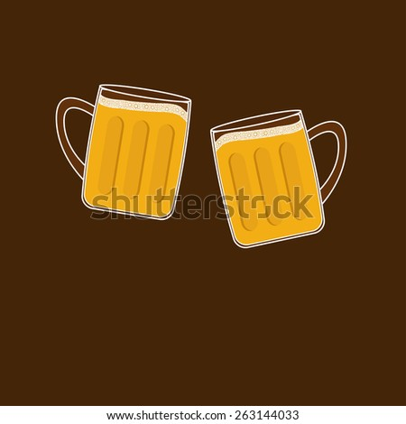 Two clink beer glasses mug with foam cap froth bubble. Flat design  - stock photo