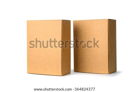 Two closed cardboard Box or brown paper package box isolated with soft shadow on White background - stock photo