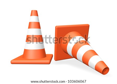 Two closeup Traffic cones on a white background - stock photo