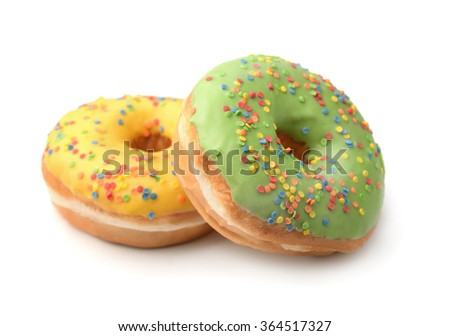 Two color glazed donuts isolated on white - stock photo