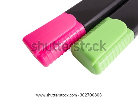 Two color markers. Isolated on white background - stock photo