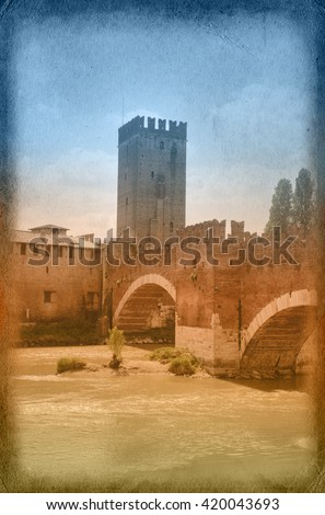 Two-color postcard with view of Verona - stock photo