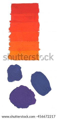 Two colored painted background. Sky blue and orange. Bright hand drawn template with brush strokes, streaks or stripes. Rough paper texture. - stock photo