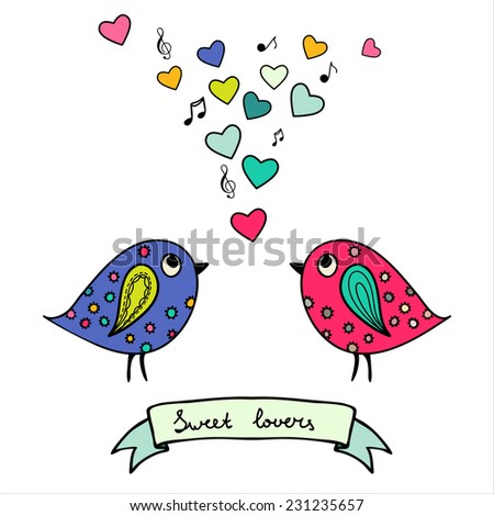 Two colorful birds, hand-drawn with hearts and notes - stock photo