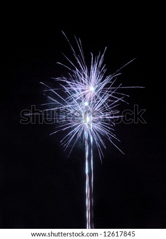 two colorful fireworks on the black sky - stock photo