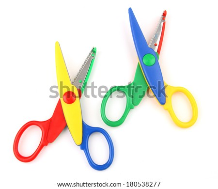 Two colorful kid's scissors isolated on white - stock photo