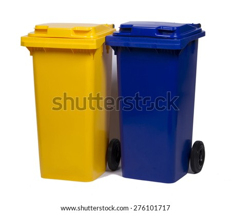 Two colorful recycle bins blue and yellow isolated on white back - stock photo