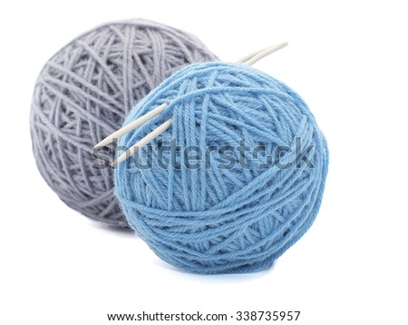 Two coloured spools of threads isolated on white background - stock photo