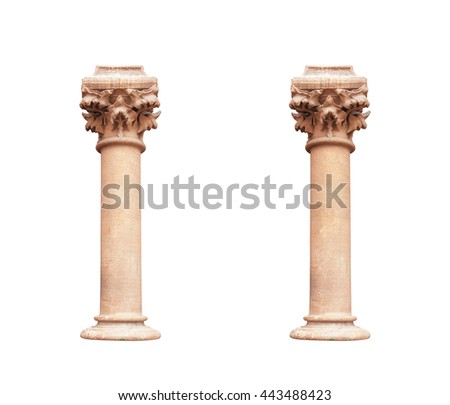 two columns in classical architectural style isolated on white background - stock photo