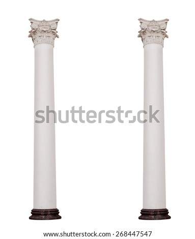 Two columns isolated on white background. - stock photo