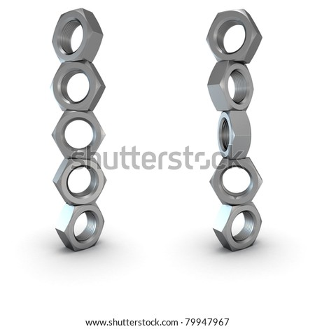 Two columns of screw nuts isolated - stock photo