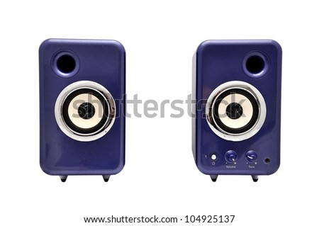 two computer speakers on a white background - stock photo