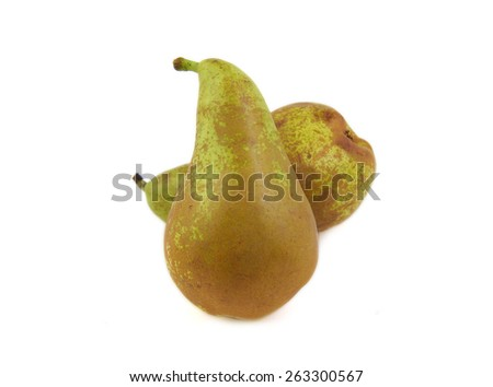 Two conference pears on a white background - stock photo
