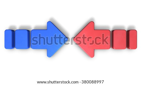Two conflicting arrows. They are the struggle of two forces.computer generated image - stock photo