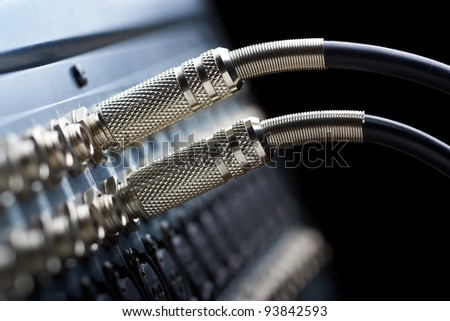 Two connectors is connected to audio mixer - stock photo