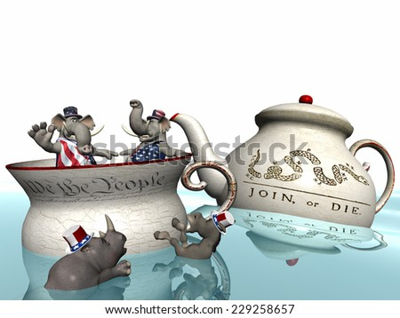 Two conservative elephants in a tea cup adorned with the foundation text of the US Constitution while a democrat donkey and a republican rhino tread water. - stock photo