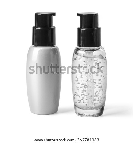 Two container of spray bottle isolated over white background with clipping path - stock photo