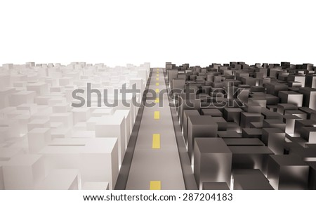 two contrast city with the road. isolated white background. 3d rendered - stock photo