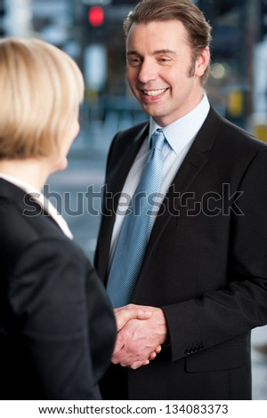 Two corporate identities shaking hands, partners in business now. - stock photo
