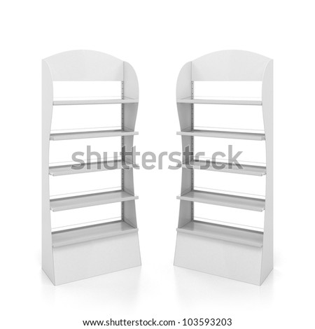 Two counters with white metal shelves - stock photo