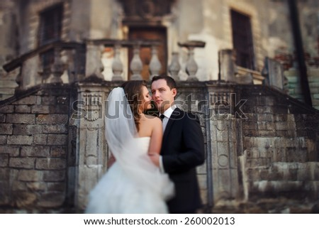 two couple after wedding in park near the castle - stock photo