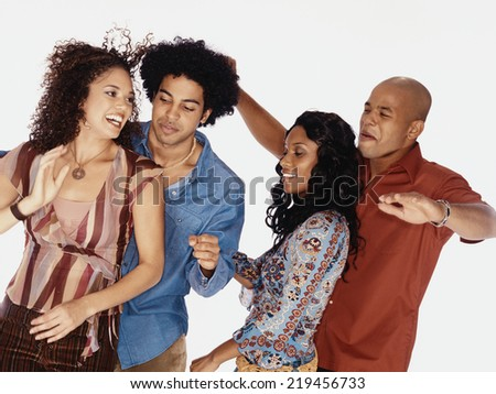 Two couples dancing - stock photo